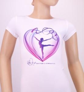 T-shirtWhiteHeartwithGymnastwithRibbon